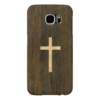Basic Christian Cross Wooden Veneer Maple Rosewood Samsung Galaxy S6 Cases
