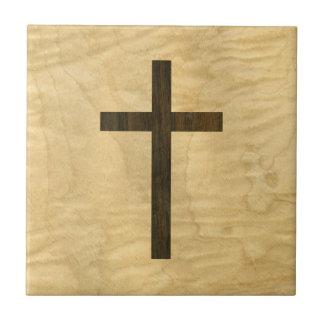 Basic Christian Cross Wooden Veneer Maple Rosewood Tile