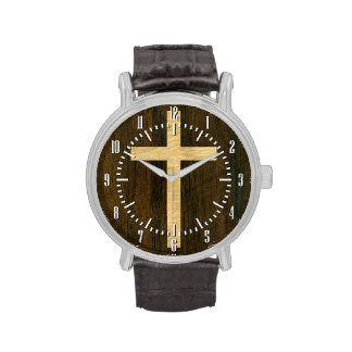 Basic Christian Cross Wooden Veneer Maple Rosewood Wrist Watch