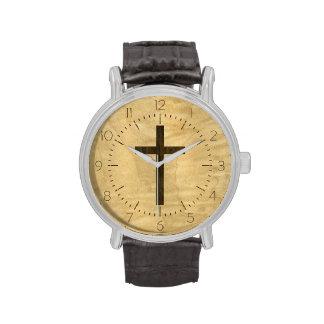 Basic Christian Cross Wooden Veneer Maple Rosewood Wristwatches