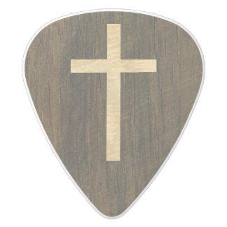 Basic Christian Cross Wooden Veneer Maple Rosewood White Delrin Guitar Pick
