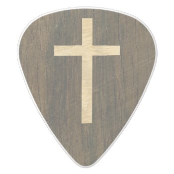 Basic Christian Cross Wooden Veneer Maple Rosewood White Delrin Guitar Pick by Hakonart at Zazzle