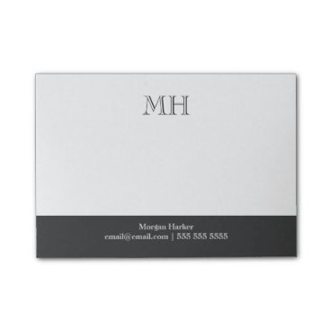 birchandoak Basic Clean Initials White Gray Post-it® Notes