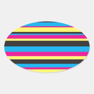 Basic Color Stripes Oval Sticker