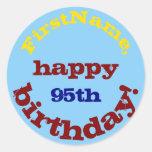 [ Thumbnail: Basic, Colorful 95th Birthday Sticker ]