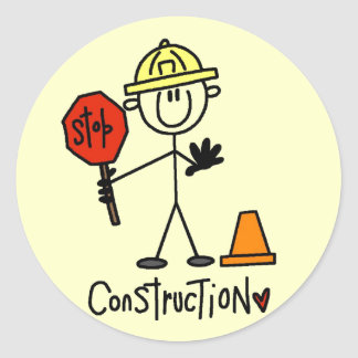 Basic Construction Tshirts and Gifts Classic Round Sticker