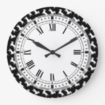 Basic Dachshund Pattern Large Clock