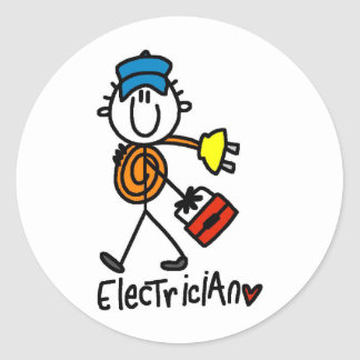 Basic Electrician Tshirts and Gifts Round Stickers