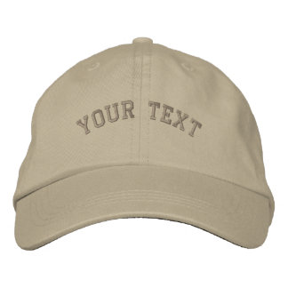 Basic Embroidered Khaki Cap Text Template Embroidered Baseball Caps