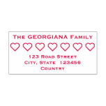 [ Thumbnail: Basic Family Name + Address + Hearts Rubber Stamp ]