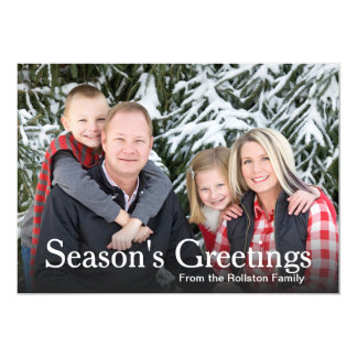 Basic Family Photo Season's Greetings Template 5x7 Paper Invitation Card