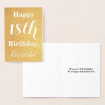Basic Gold Foil 18th Birthday   Custom Name Foil Card