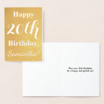 Basic Gold Foil 20th Birthday   Custom Name Foil Card