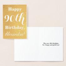 Basic Gold Foil 90th Birthday   Custom Name Foil Card