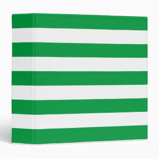 Basic Green and White Stripes Pattern 3 Ring Binder