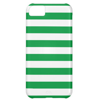 Basic Green and White Stripes Pattern Cover For iPhone 5C