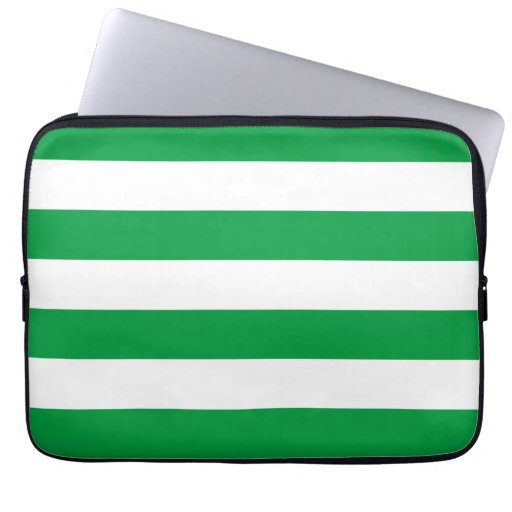 Basic Green and White Stripes Pattern Laptop Computer Sleeves