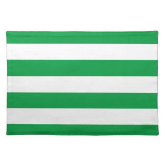 Basic Green and White Stripes Pattern Placemat