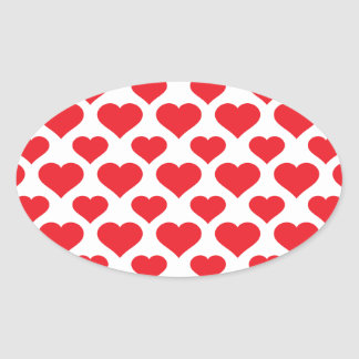 Basic Heart Pattern Red Oval Sticker