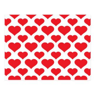 Basic Heart Pattern Red Postcard