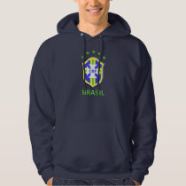 "Basic Hooded Sweatshirt, Navy Blue ""CBF Brazil"" Hoodie"