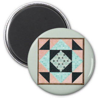 Basic Hourglass in Turquoise and Peach 2 Inch Round Magnet