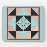 Basic Hourglass in Turquoise and Peach Mouse Pad