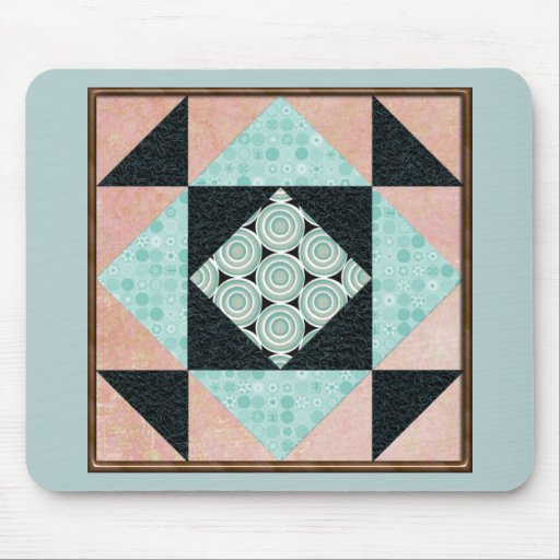 Basic Hourglass in Turquoise and Peach Mouse Pads