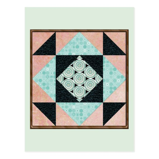 Basic Hourglass in Turquoise and Peach Postcard