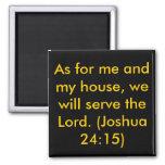 Basic Joshua 24:15 Square Magnet Magnets
