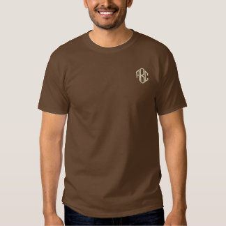 Basic Long Sleeve Brown Monogram Embroidered T-Shirt