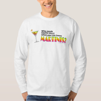 Basic Long Sleeve T-shirt - Martinis v. Happy Pill