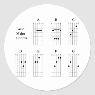 Basic Major Chords Classic Round Sticker