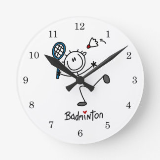 Basic Male Stick Figure Badminton Round Wallclock