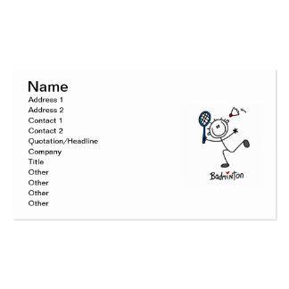 Basic Male Stick Figure Badminton Double-Sided Standard Business Cards (Pack Of 100)