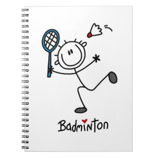 Basic Male Stick Figure Badminton Spiral Note Books