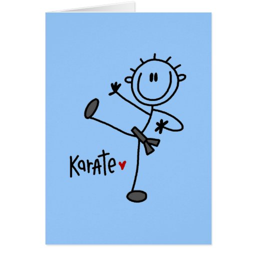 Basic Male Stick Figure Karate T-shirts and Gifts Stationery Note Card