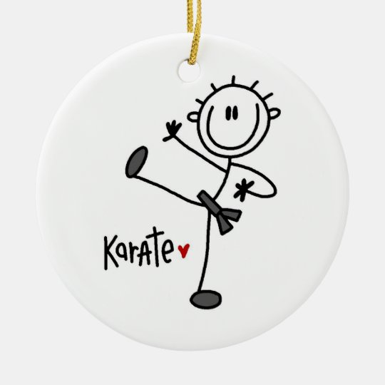 Basic Male Stick Figure Karate T-shirts and Gifts Ceramic Ornament