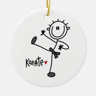 Basic Male Stick Figure Karate T-shirts and Gifts Double-Sided Ceramic Round Christmas Ornament