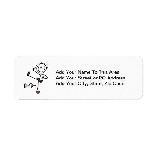 Basic Male Stick Figure Karate T-shirts and Gifts Return Address Label