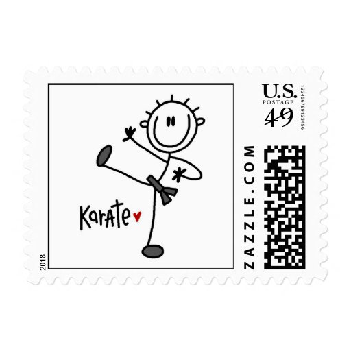 Basic Male Stick Figure Karate T-shirts and Gifts Stamp