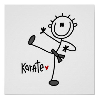 Basic Male Stick Figure Karate T-shirts and Gifts Poster