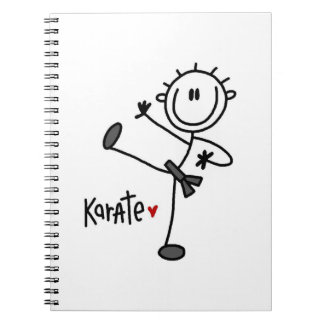 Basic Male Stick Figure Karate T-shirts and Gifts Spiral Notebook
