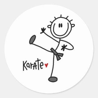 Basic Male Stick Figure Karate T-shirts and Gifts Round Sticker