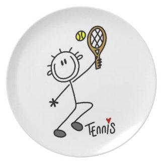 Basic Male Stick Figure Tennis Player Plate