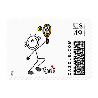 Basic Male Stick Figure Tennis Player Postage Stamp