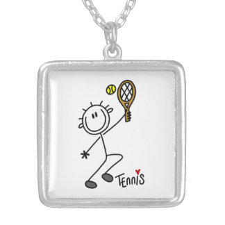 Basic Male Stick Figure Tennis Player Silver Plated Necklace