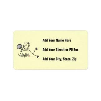 Basic Male Stick Figure Volleyball Address Label