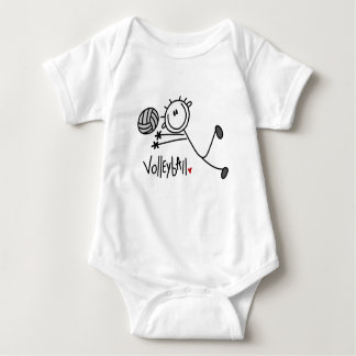 Basic Male Stick Figure Volleyball Baby Bodysuit