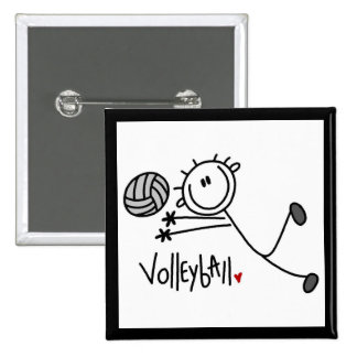Basic Male Stick Figure Volleyball Button